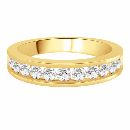 Channel set round brilliant cut diamonds set on top half of a yellow gold ring.\\n\\n11/03/2016 16:59