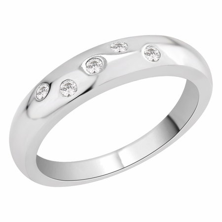 Court shaped band with five flush set round brilliant cut diamonds in white gold\\n\\n11/03/2016 17:00