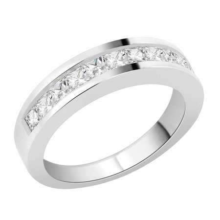 Channel set princess cut diamonds set on top half of a white gold ring.\\n\\n11/03/2016 17:00
