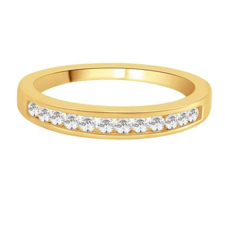 Channel set round brilliant cut diamonds set on top third of a yellow gold ring.\\n\\n11/03/2016 17:00
