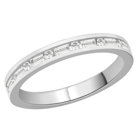 Channel set round and baguette cut diamonds set in a white gold ring\\n\\n11/03/2016 16:59